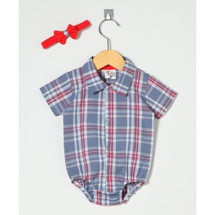 Body Manga Curta Camisa Xadrez Com Gravata Borboleta  b5e6c3cebd0