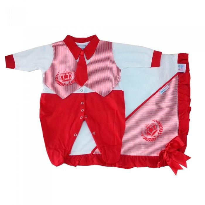 1d039e484bd7 Saída Maternidade Coroa Gravata Vermelha   Tudo Enxovais