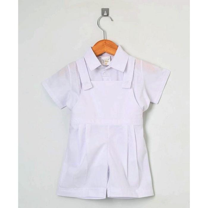 Macacão Jardineira Com Camiseta - Batizado Menino  d8d8661417b