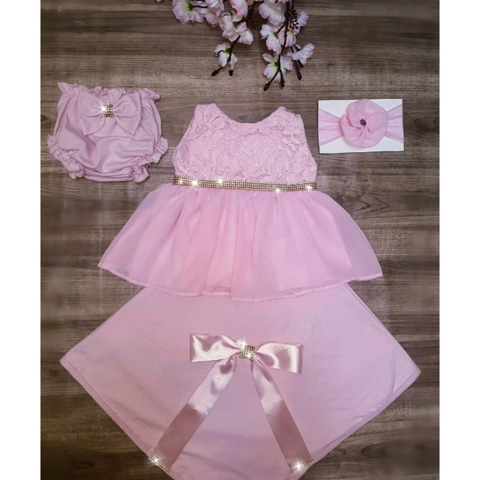 37bbd84ae Saída Maternidade Verão - Vestido Rosa   Strass