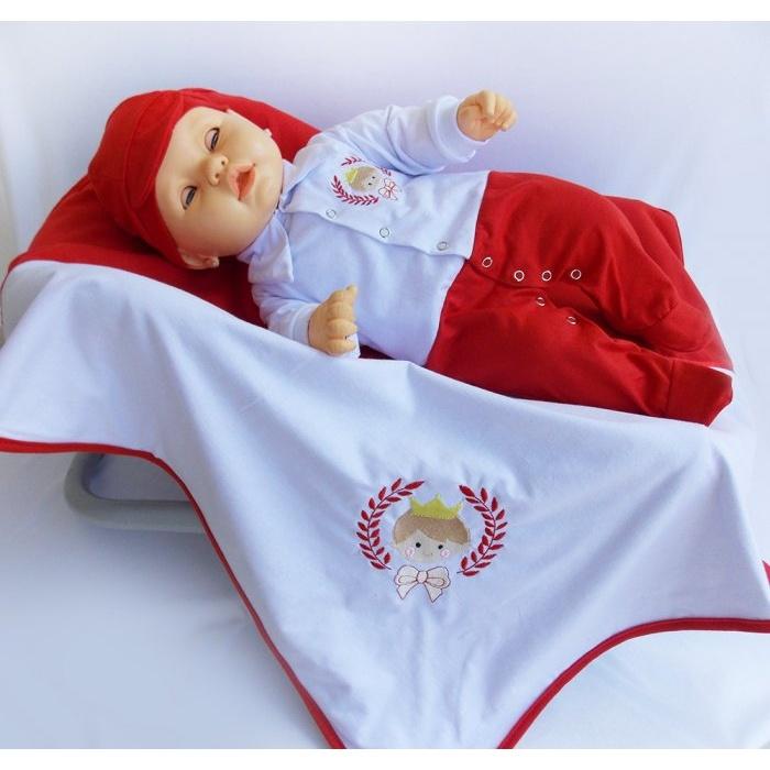 24dcc36aa67b Saída Maternidade Menino Príncipe - Branco/vermelho   Tudo Enxovais
