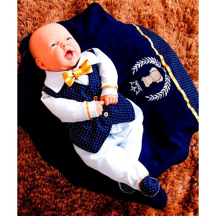 Saída Maternidade Príncipe Realeza - Gravata Dourada com Marinho. Kit saída  maternidade Principe 84078045df8