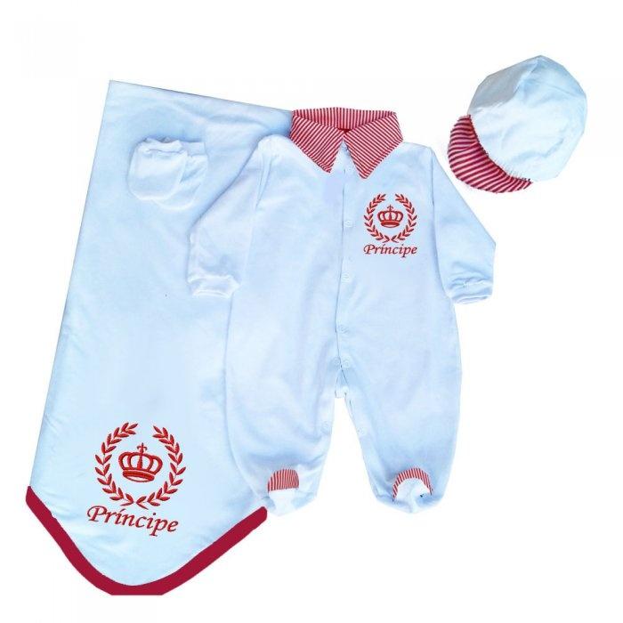 6f42d0ca9b70 Saída Maternidade Príncipe Branco Coroa Vermelha   Tudo Enxovais
