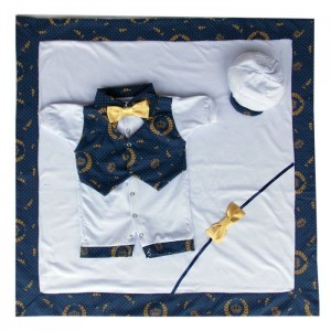 Saída Maternidade Verão - Fundo Azul Marinho Coroa Dourada 58b91233bf1